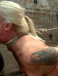Horny bound blonde sucks big cock