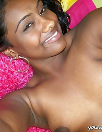 Smiling young black girlfriend Paris showing small jugs and spreading her wet pussy