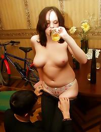 Curvy drunk girl is horny