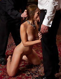 Once she convinces the Steward to use her mouth she desperately sucks and fucks, hoping for approval and a hot load on her tight body.