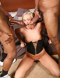 Hot Blondie Taste Two Black Cocks