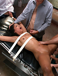 Psych ward patient is scrubbed down, tied up, and used as a sex slave in an underground prostitution ring. Bondage, double penetration, blow-bang!