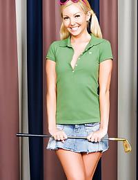 Petite teen in short skirt
