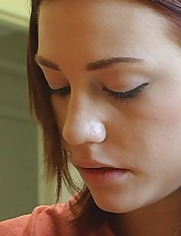Brandi Belle - Young redhead student tasting campus meat poles