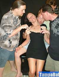 Watch After Party Slut Trina Taking on Four Cocks