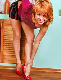 Petite Redhead Teen Spreads L...