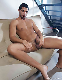 Handsome man with erect penis