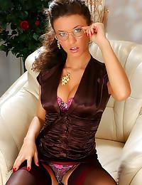 Satin blouse and sexy stockin...