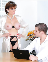 Milf in a sexy satin robe