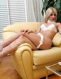 Gorgeous blonde shemale in lingerie