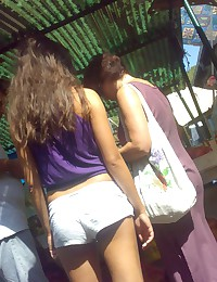 sexy girl in shorts upskirts. Voyer upskirt