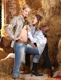 Busty cowgirls get naked and have sex on hayloft