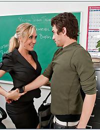 Teacher in stockings loves sex