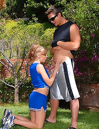 Cute cheerleader fucked in skirt