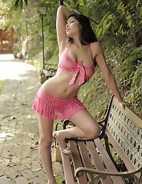 Hot model Natalia Spice in sheer pink lingerie teases her body outdoors