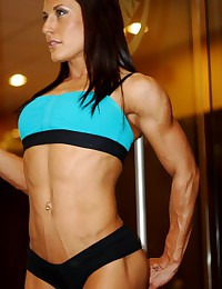 Watching women with muscular bodies.