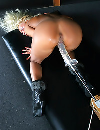 Blonde in boots loves toys