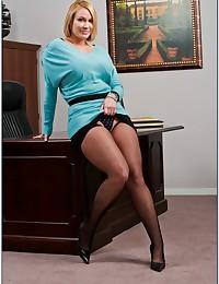 Leggy Blond Milf Enjoys Office Fuck