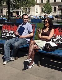 Fantastic fuck outdoors in public