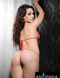 Stunning Anastasia Harris wears a red bikini and her body is breathtaking