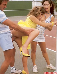 Real horny retro tennis threesome outdoors