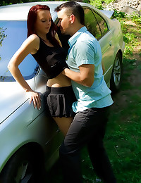 Young redhead fucked hard out...