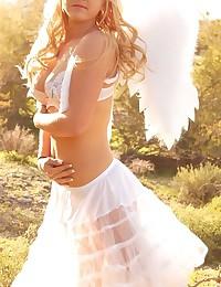 Lia 19 - Girl outdoors in white wings looking so freaking hot