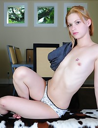 Emi Clear - Blonde bends down and pulls her buns apart showing pussy and asshole