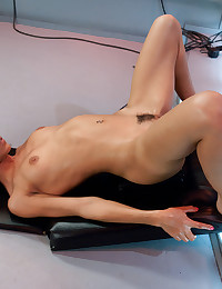 Toy in ass of slender girl