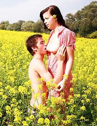 Beautiful teen sex in field