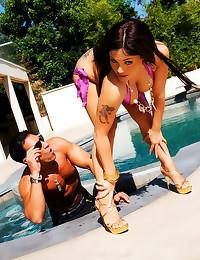 Shiny bikini on a tempting La...