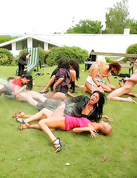 Elegant ladies in outdoor orgy