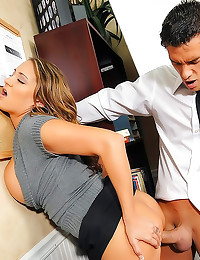 Sweater babe fucked in office