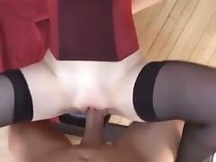 Teen rubs clit and receives big dick