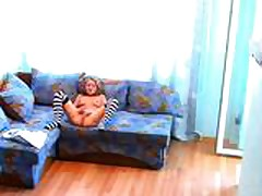 Girl masturbating alone