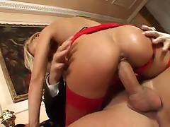 Slut in sexy red fishnets fucked hard