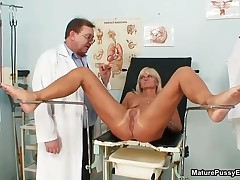 Horny Old Doctor Abusing This Blonde Wife Her Pink Pussy With A Toy By MaturePussyExams