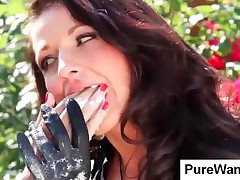 Pigtailed Gagged Slave Gets Covered With Cream