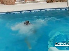 Lesbian Teen Kissing And Licking In The Pool