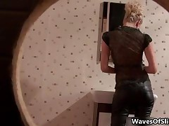 Fit Blonde Babe Sucking Of A Big Cock In A Public Toilet By WavesOfSlime