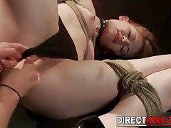 Tied Brunette Babe In Black Bikini Gets Her Shaved Pussy Whipped And Toyed By Lesbian Master