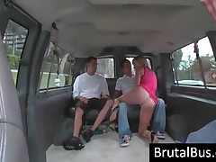Blonde Whore Fuck Two Dicks In The Bus