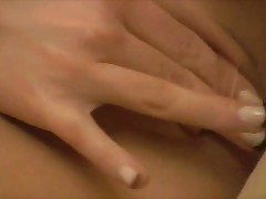 Horny Babe Fingers Her Sexy Pussy Nice And Gently With Her Glass Dildo