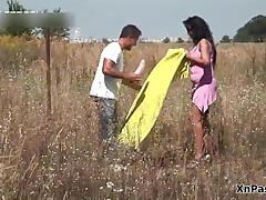 Horny Brunette Wife Loves Masturbating Outdoor With Her Big Dildo By XNPass