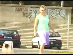 After A Long Walk, This Lady Really Needs To Pee And Does It On Some Stairs, In Public Car Parking!