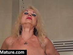 Big Meloned Blonde Granny Strip Erotically