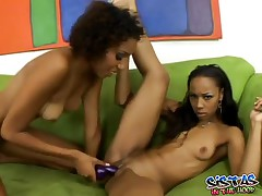Krystal And Misty - Hot Ebony Dildo Fucking Action