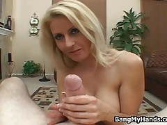 Naughty Blonde Busty Girl Loves Giving A Good Wet Handjob By BangMyHands