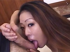 Long haired slut sucking cock and eating balls