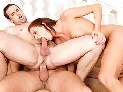 2 horny men and a hot babe engage in bi-sex fucking session.